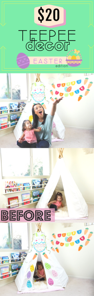 All you need is $20 to transform the teepee to EASTER decor! tiffanieanne.com