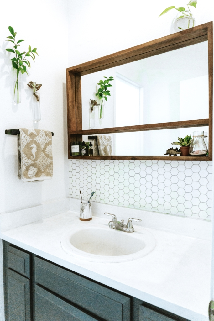 Bathroom Makeover with PEEL AND STICK TILES