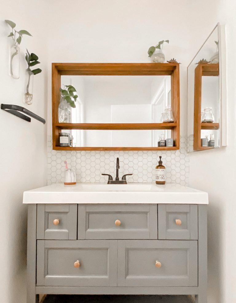 Giani Earl Grey Paint Bathroom Vanity Makeover tiffanieanne.com
