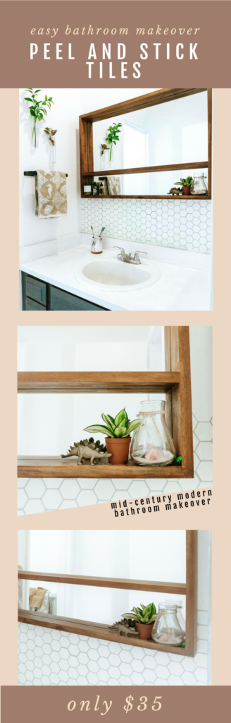 Peel and Stick Tiles for easy $35 Bathroom Makeover!