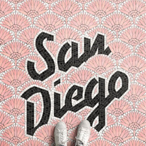 San Diego mosaic illustrations by Nick Misani
