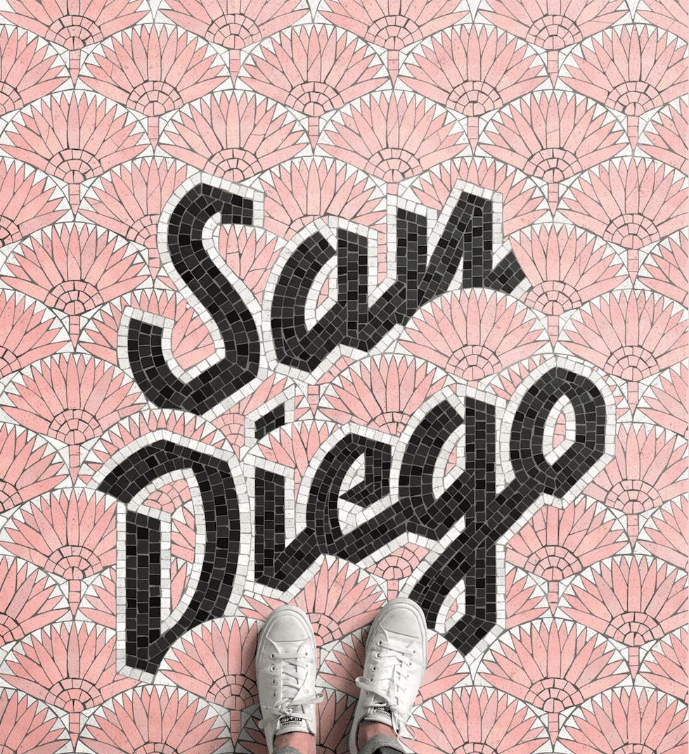 San Diego mosaic illustrations by Nick Misani