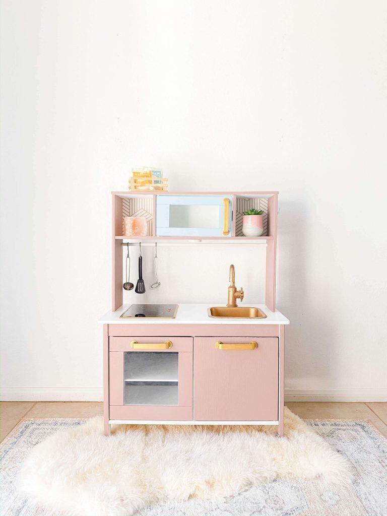 Ikea Duktig Hack - Ikea Play Kitchen - Paris Cafe - Food Truck - To Go - Pink Kitchen - tiffanieanne.com