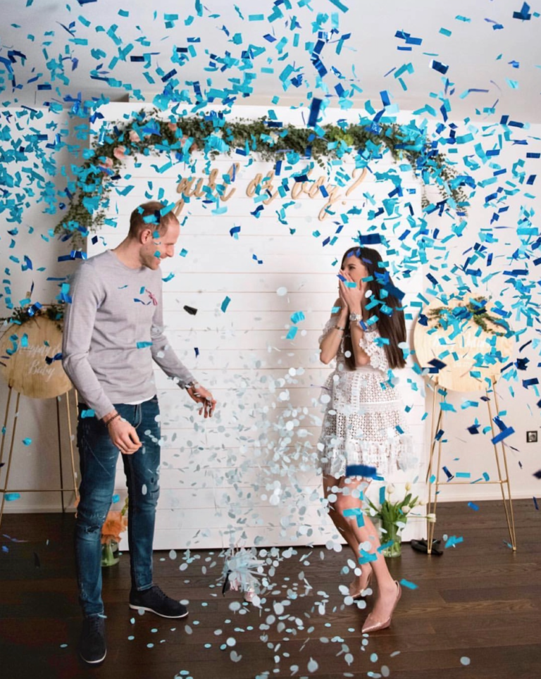 blue confetti | Best Gender Reveal | Must See Gender Reveal Ideas! | tiffanieanne.com