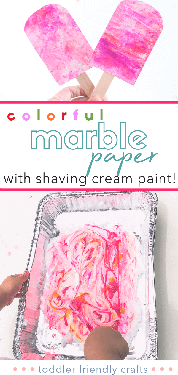 Marble Paper Shaving Cream Paint | Toddler Kid Friendly DIY Arts and Crafts | Dollar Store Finds
