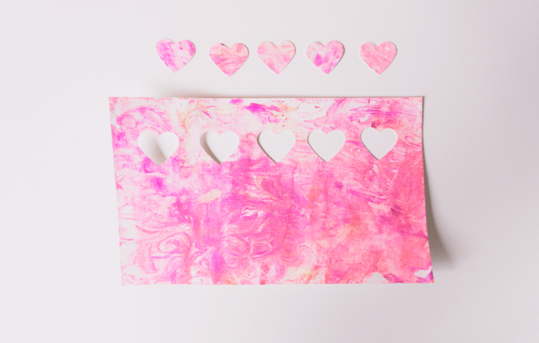 Heart Confetti | Marble Shaving Cream Paint Art | Toddler DIY | tiffanieanne.com