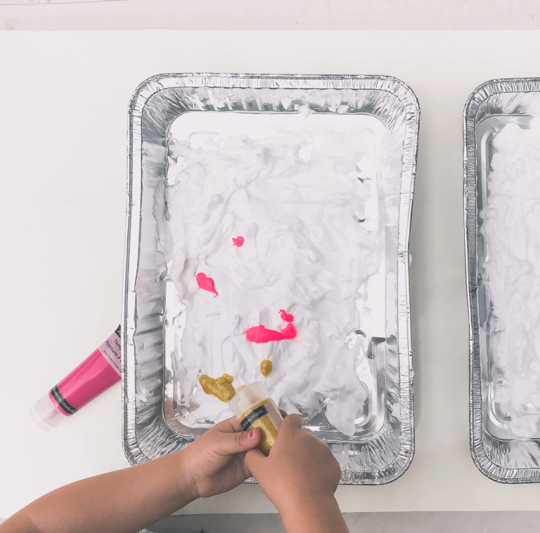 How to Tutorial | Marble Shaving Cream Paint Art | Toddler DIY | tiffanieanne.com