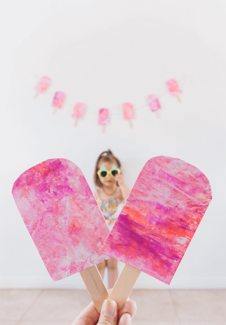 Popsicle | Marble Shaving Cream Paint Art | Toddler DIY | tiffanieanne.com