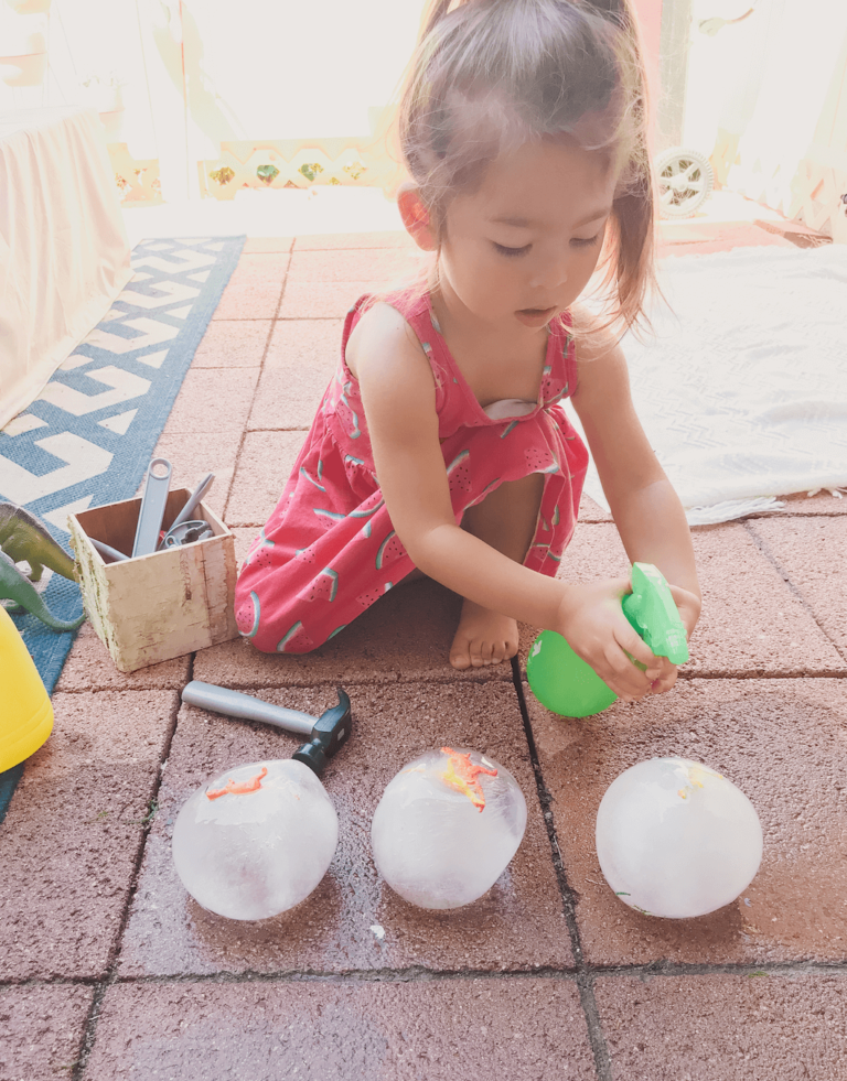 Frozen Dinosaur Eggs - Toddler, Kids, Preschool Sensory and STEM activity - Easy Hatching Dino DIY Craft - Easy Science - Dinosaur Party - Outdoor Game - tiffanieanne.com15