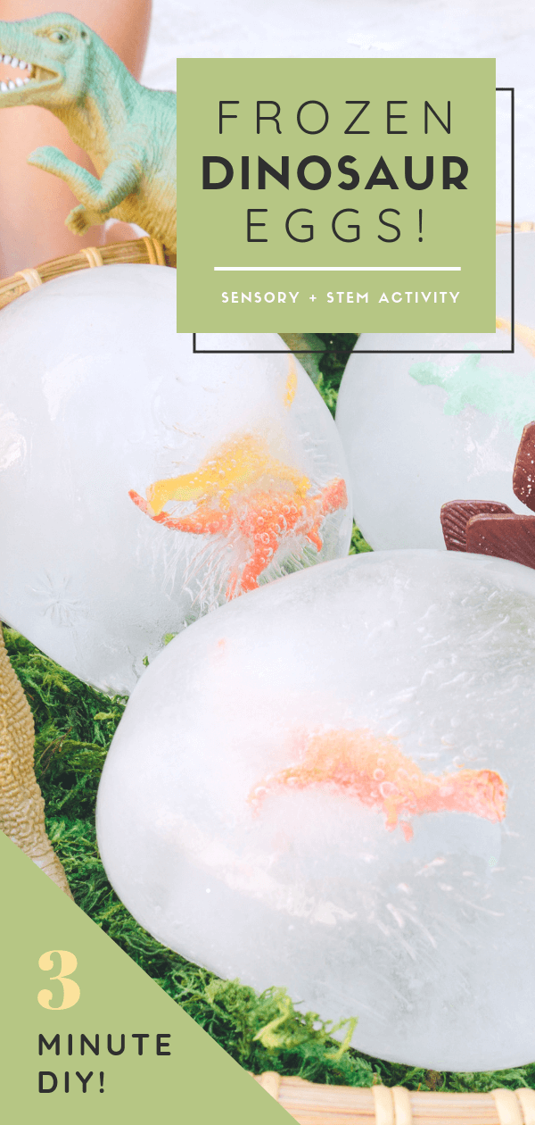 Frozen Dinosaur Eggs | Toddler, Kids, Preschool Sensory and STEM activity _ Easy Hatching Dino DIY Craft | Easy Science | Dinosaur Party | Outdoor Game | tiffanieanne.com
