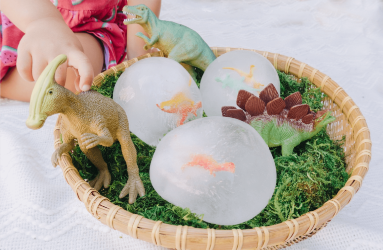 Frozen Dinosaur Eggs - Toddler, Kids, Preschool Sensory and STEM activity - Easy Hatching Dino DIY Craft - Easy Science - Dinosaur Party - Outdoor Game - tiffanieanne.com