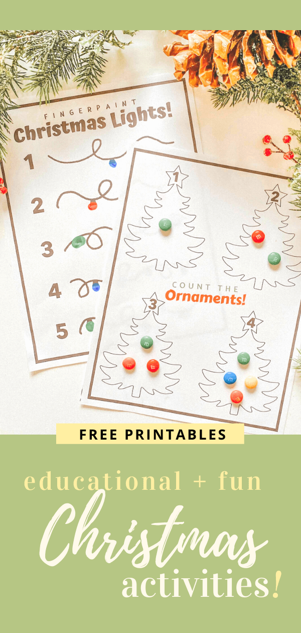 Count the Ornaments - Fingerpaint Lights - FREE PRINTABLE - Christmas Learning Numbers Activity DIY - Toddler Montessori - tiffanieanne.com