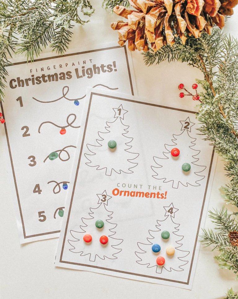 Count the Ornaments | Fingerpaint Christmas Lights - FREE PRINTABLE - Christmas Learning Numbers Activity DIY - Toddler Montessori - tiffanieanne.com.jpg 2