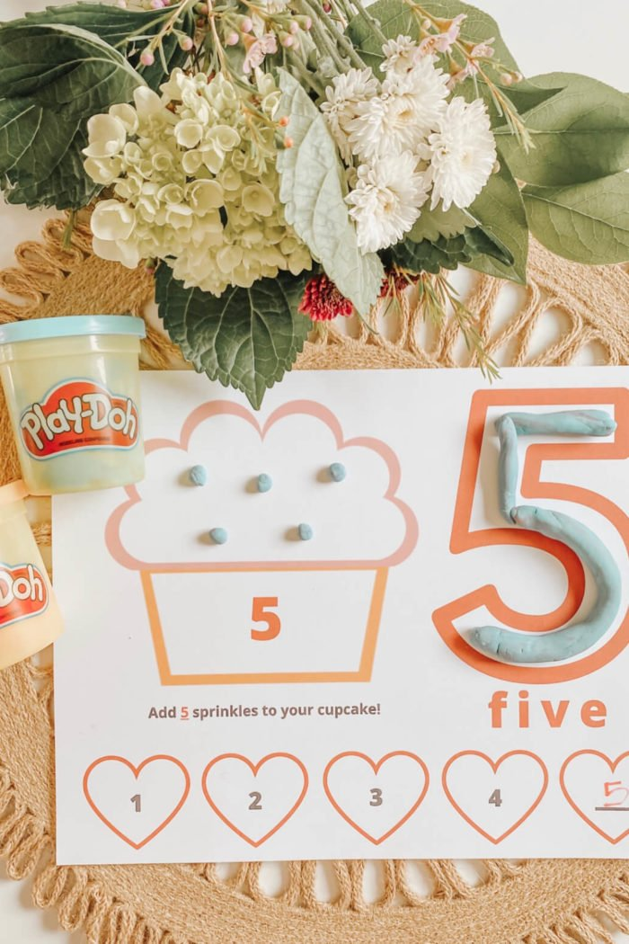 Number Play Dough Mats! •Valentine's Day Learning Activity•