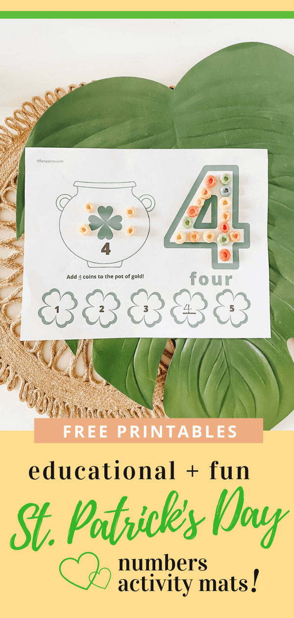 Number Activity Mats | Play Dough Play Doh Mats | Learning Numbers | St. Patrick's Day free printables | Indoor Activity and Crafts | tiffanieanne.com