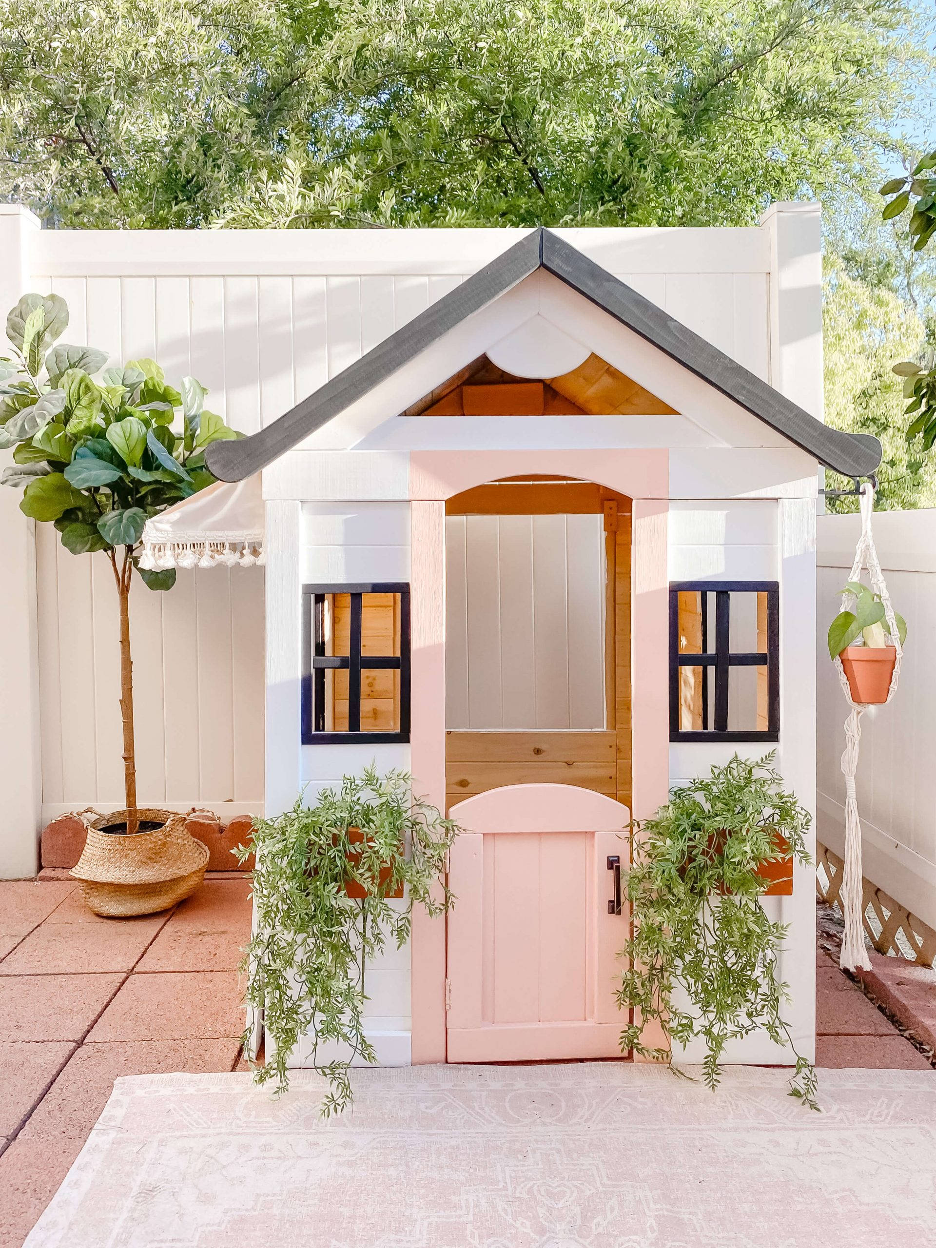 Playhouse Makeover - Playhouse Hacks - Wooden Playhouse - Cafe Playhouse - DIY Kids Table - DIY Awning - tiffanieanne.com