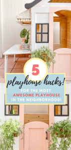Playhouse Makeover | Playhouse Hacks | Wooden Playhouse | Cafe Playhouse | DIY Kids Table | DIY Awning | tiffanieanne.com