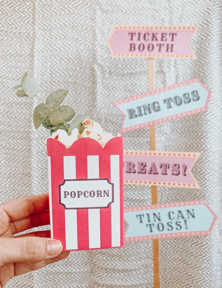 Popcorn Box Carton | Carnival Circus Theme Party | FREE PRINTABLES | birthday party | tiffanieanne.com