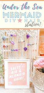 Mermaid Station - Under the Sea Beach Party! - Mermaid Hair - Sea shell crafts - color seashells - tiffanieanne.com pin 4
