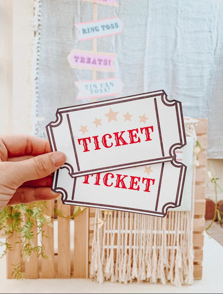 Tickets | Carnival Circus Theme Party | FREE PRINTABLES | birthday party | tiffanieanne.com 4