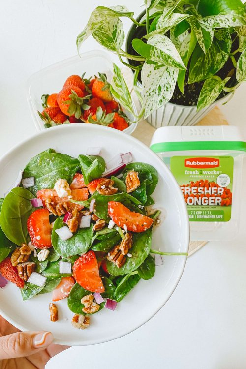 Strawberry Spinach Summer Salad <br>(& the secret to keeping your strawberries longer and fresher!)
